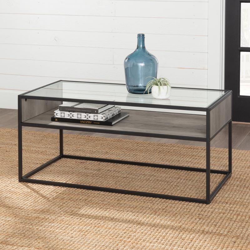 Rustic Glass Coffee Table Gray Wash Coffee Table Grey Glass Table Safety Glass