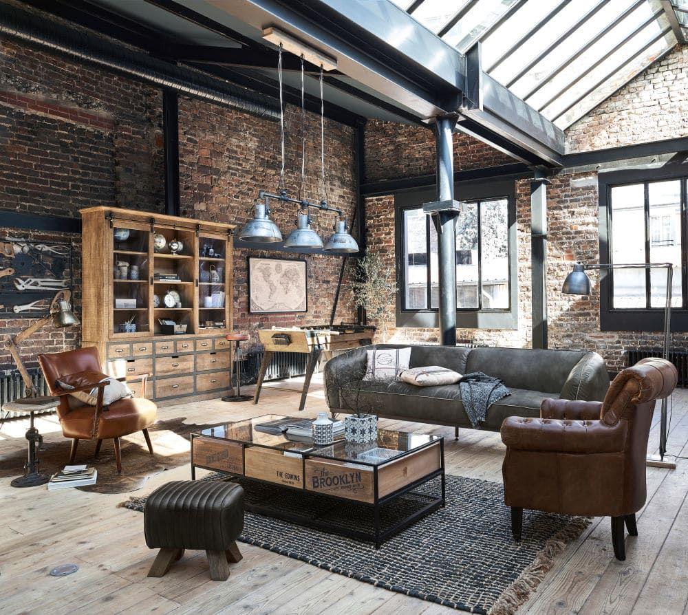 Canape 3 Places Django En Cuir Gris Canape Maisons Du Monde Avec Images Deco Style Industriel Canape Maison Du Monde Interieur Maison Design