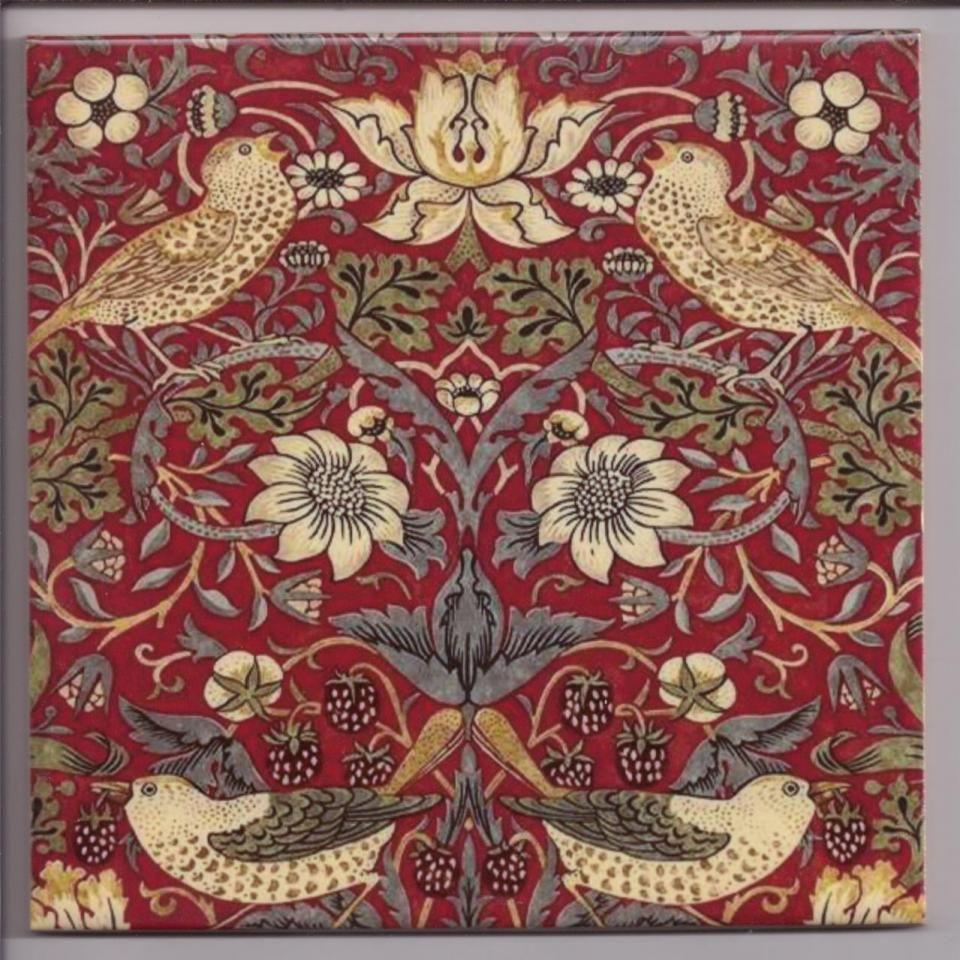 Bathroom Art Nouveau: William Morris Strawberry Thief Red