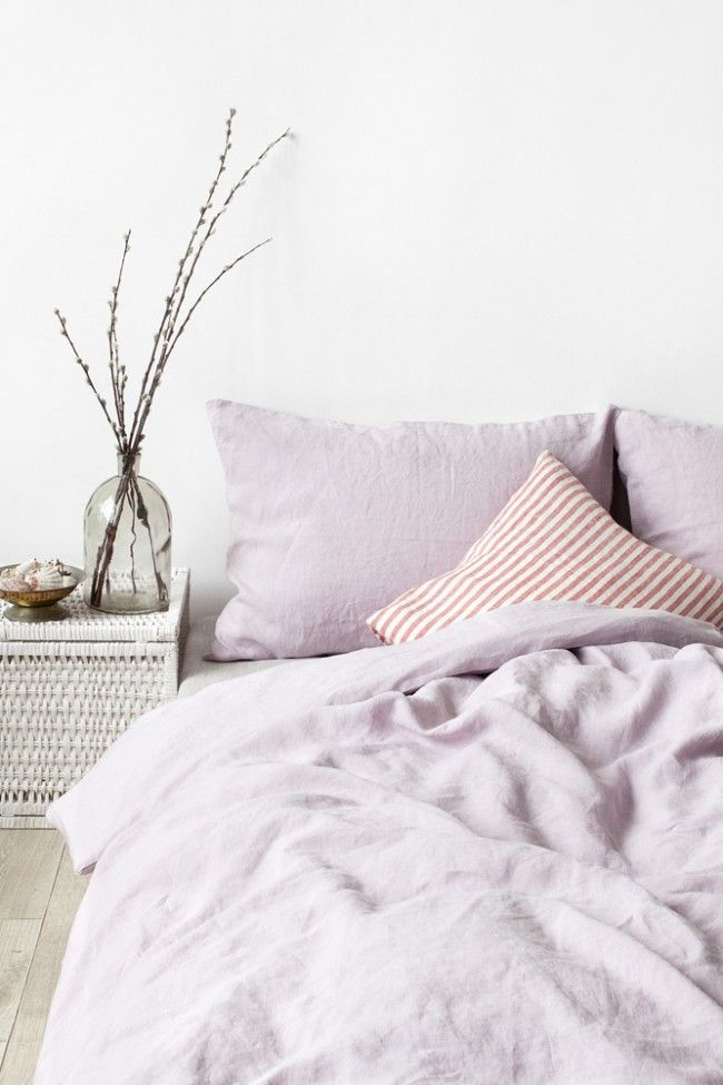 EU Pink Lavender Stone Washed Linen Bed Set | BED by LINEN