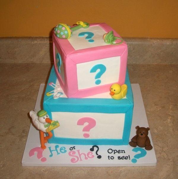 Gender Reveal Baby Block Cake
