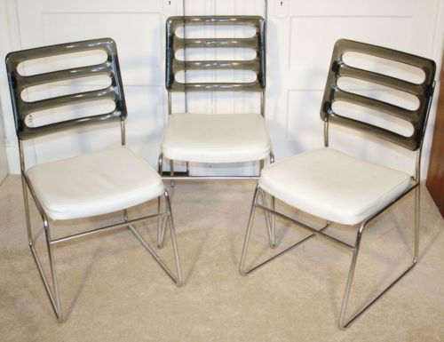 Vintage CHROMCRAFT Smoke Lucite U0026 Chrome Chairs. Set Of 3. Mid Century  Modern