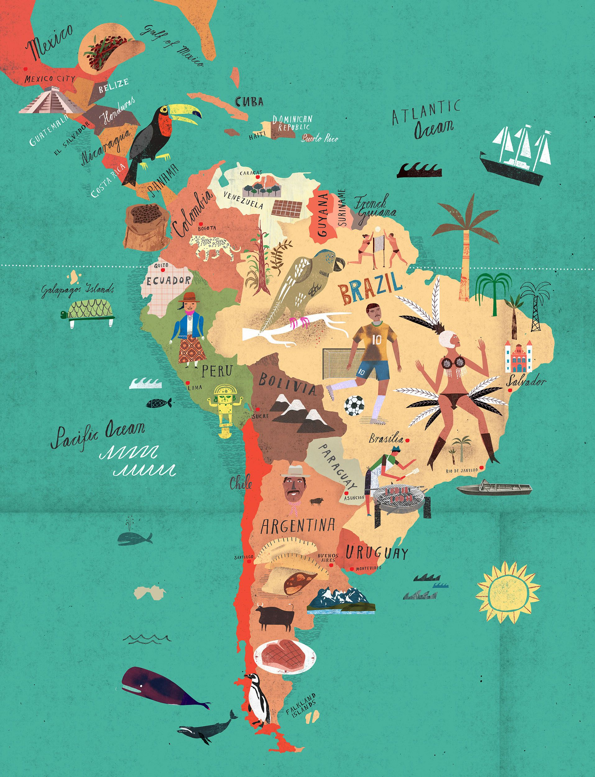 South America Map For Kids