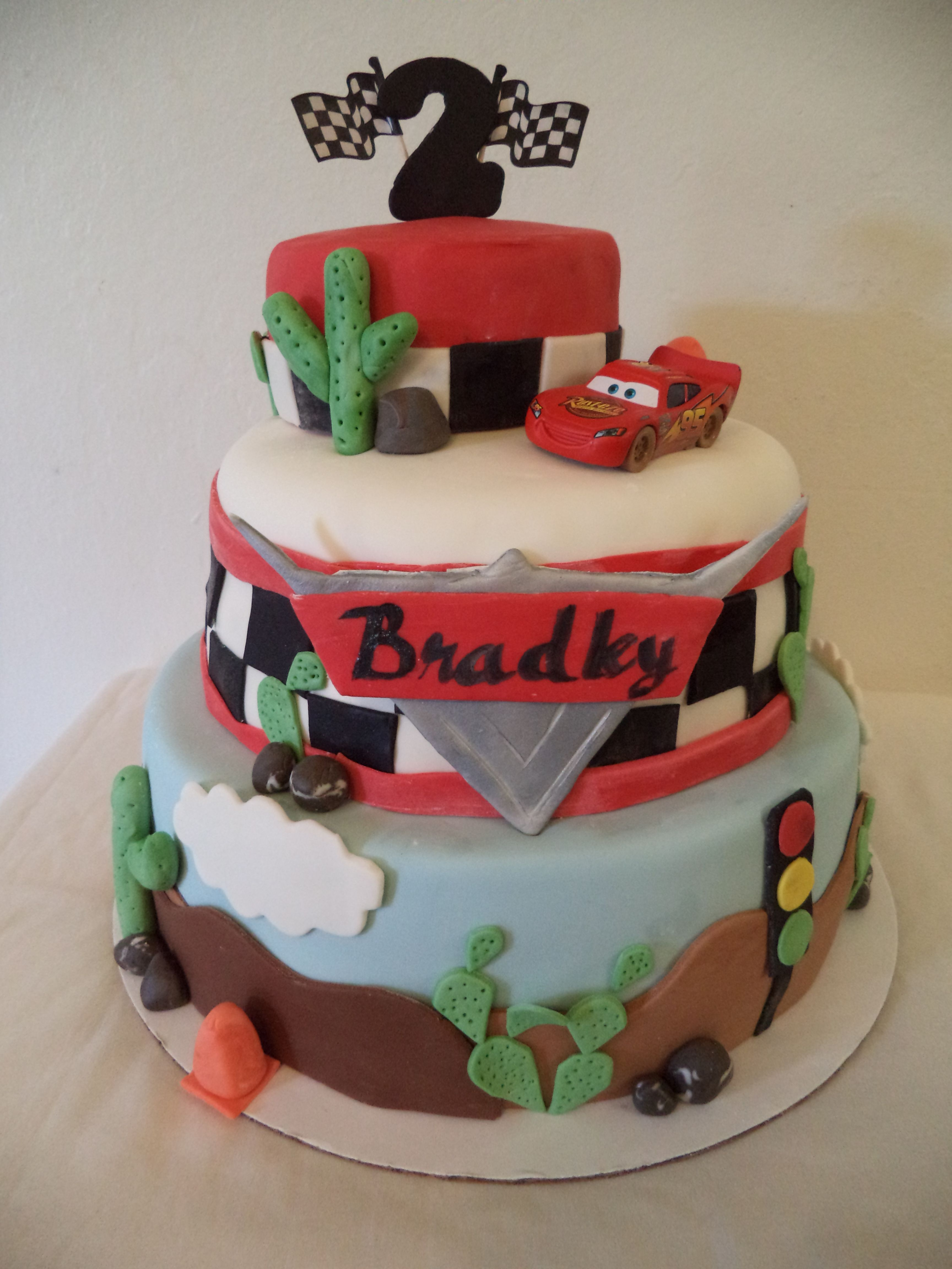 - Special thanks to Bellaria Cakes Design. My nephew Bradley turned two and loves the Disney Cars movie. There are sooo many cakes out there, this one caught my eye. :)