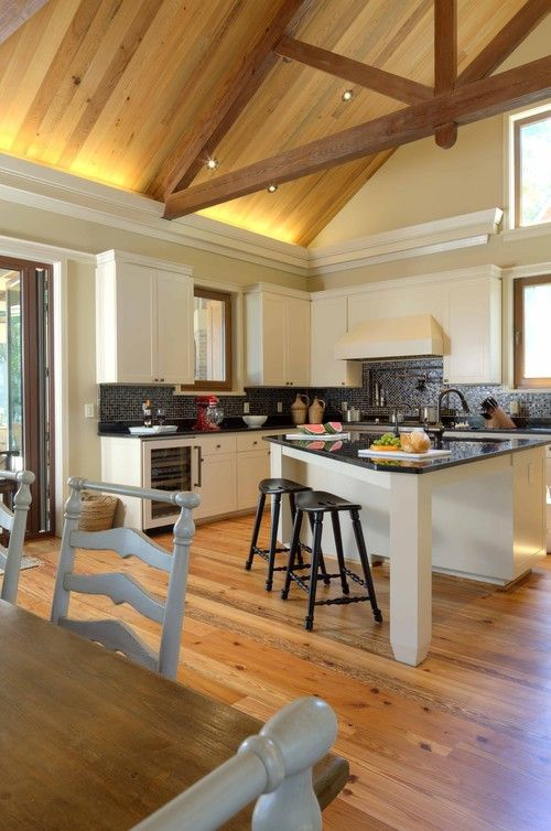 Vaulted Ceilings With Planks And Rope Lighting Kitchen Design