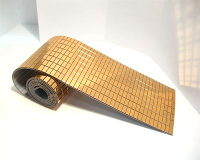 Rose Gold Mircroflex Tile Sheet Flexible Adhesive Backed Durable Polished Metallic Plastic Can Be Cut Between Grooves