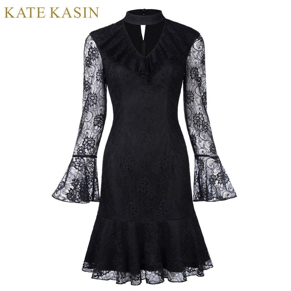 Kate kasin short cocktail dresses black long sleeve formal prom