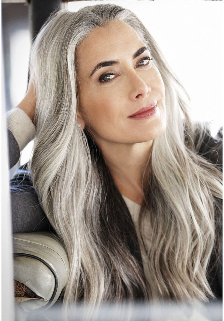 image result for silver haired female models  long gray