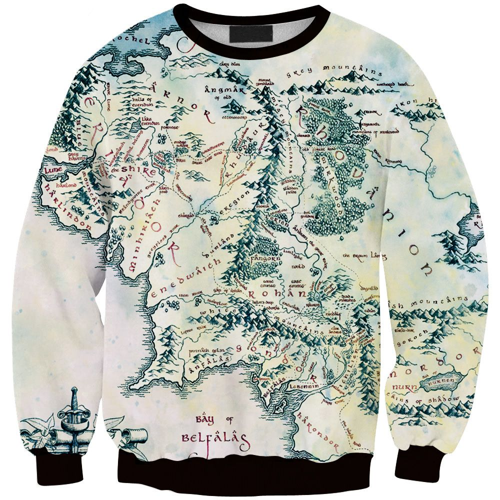 The Hobbit Middle Earth Map Pullover | Kleidung | Printed ...
