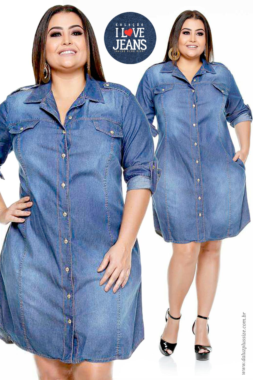 1192c49e9 Vestido Jeans Plus Size Julien - Coleção Outono Inverno Plus Size -  daluzplussize.com.br