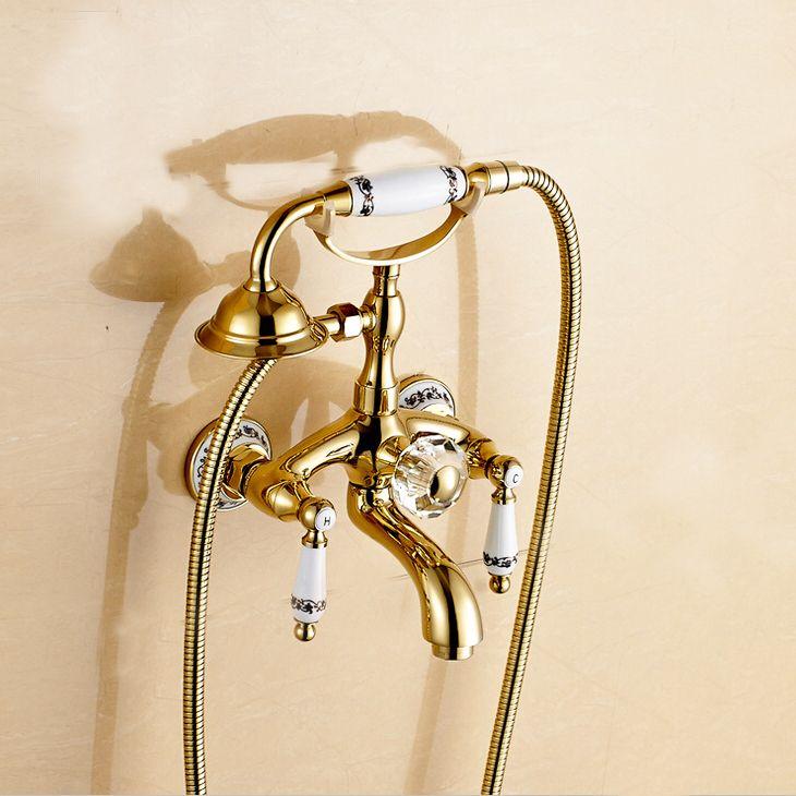 Good Quality Gold Color Bath Faucet Brass Material Shower Faucet - Gold colored bathroom fixtures