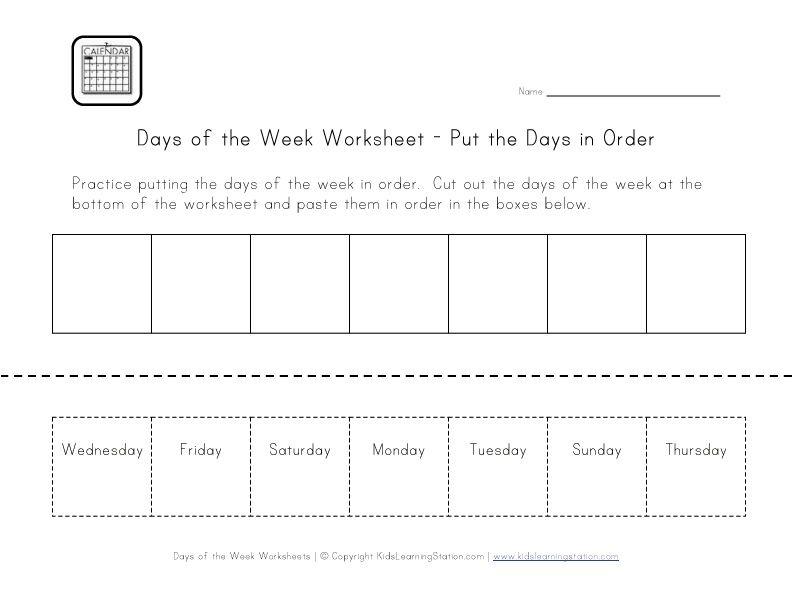 Days Of The Week Worksheets Kids Worksheets Printables Calendar Math Worksheets