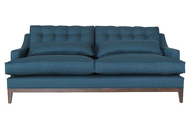 Best Alva 90 Sofa Azure On Onekingslane Com Sofa Tufted 400 x 300