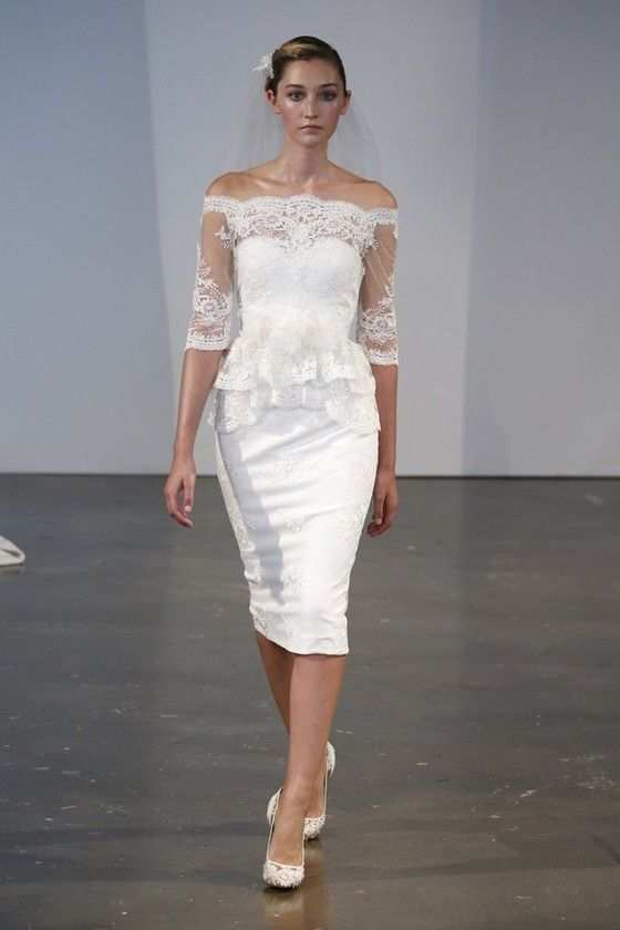 Simple wedding dress by Marchesa 2014 collection. Good of ROM ...