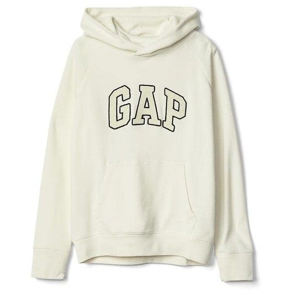 Gap Women Textured Logo Pullover Hoodie (602.465 IDR) ❤ liked on Polyvore  featuring tops