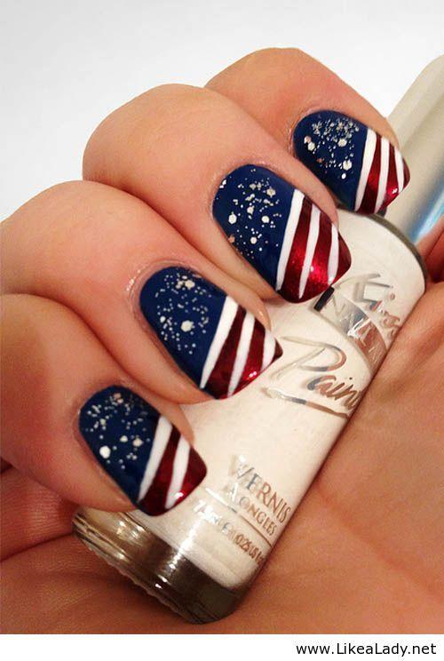 Fourth Of July Nail Art Nails Manicura Uña Decoradas