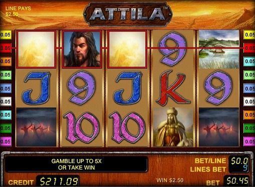 Pelaamista hedelmäpeli Attila pelata rahasta. Tärkein sankari tämän online hedelmäpeli on tunnettu johtaja Attila. Hän varmasti valittaa ystäville historiaa ja haluavat pelata oikealla rahalla saada isoja voittoja. Hedelmäpeli on 5 kiekkoa Attila ja 9 voittolinjaa. Läsnä myös Wild symbolit ja Scatter. Lisäksi se tajusi pelin kaksinkertaistaa,