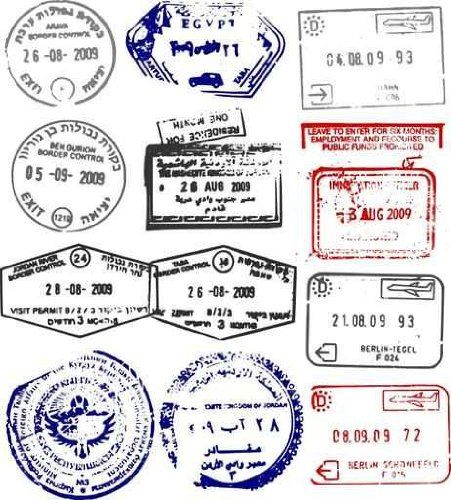 Raw Material Wall Decals Vector Passport Stamps From