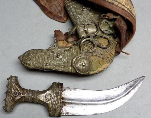 ANTIQUE JAMBIYA SILVER COLOR ARAB DAGGER, SWORD KNIFE W
