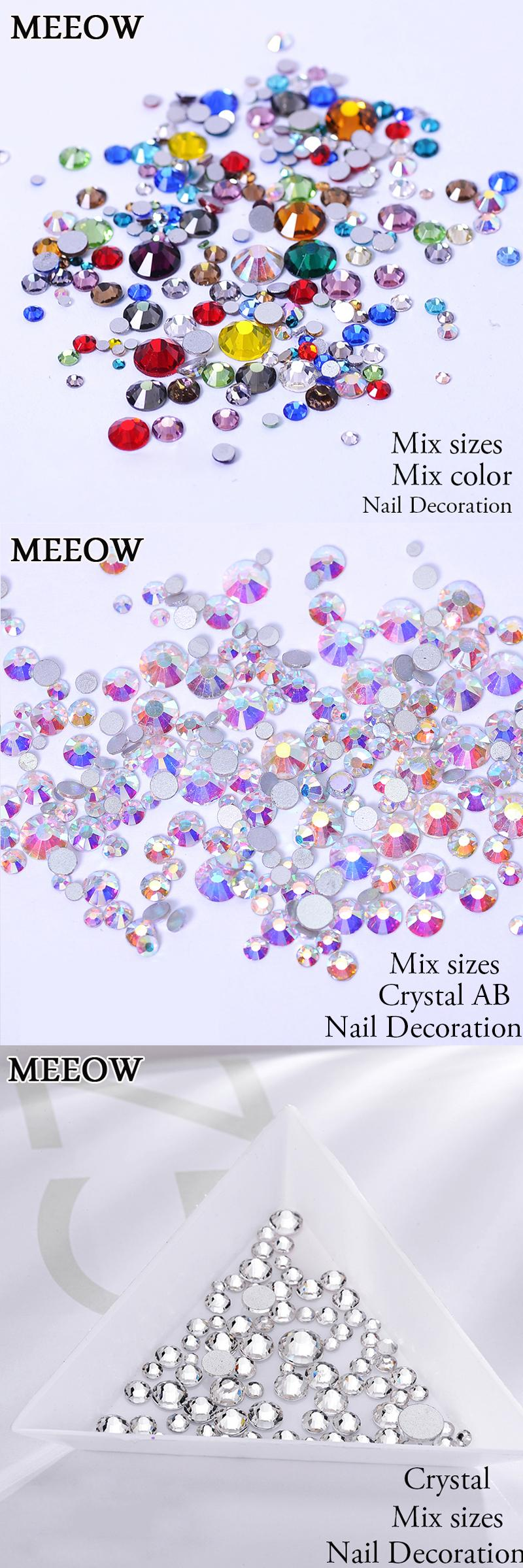 [Visit to Buy] Non HotFix Mix Size Nail Art Rhinestones With Round Base For Nails Shoes And Wedding Decoration #Advertisement