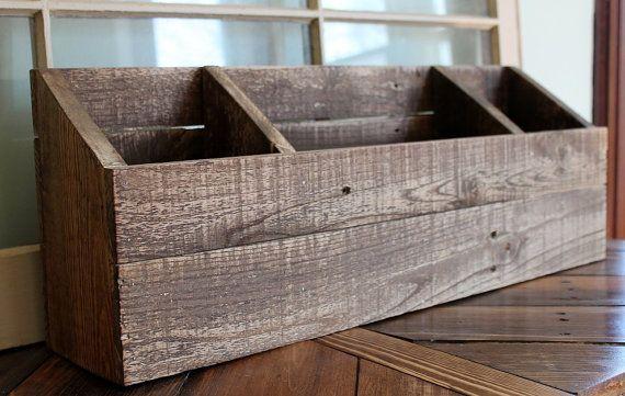 Wood Organizer Desktop Office Storage Desk Sorter Wood Mail