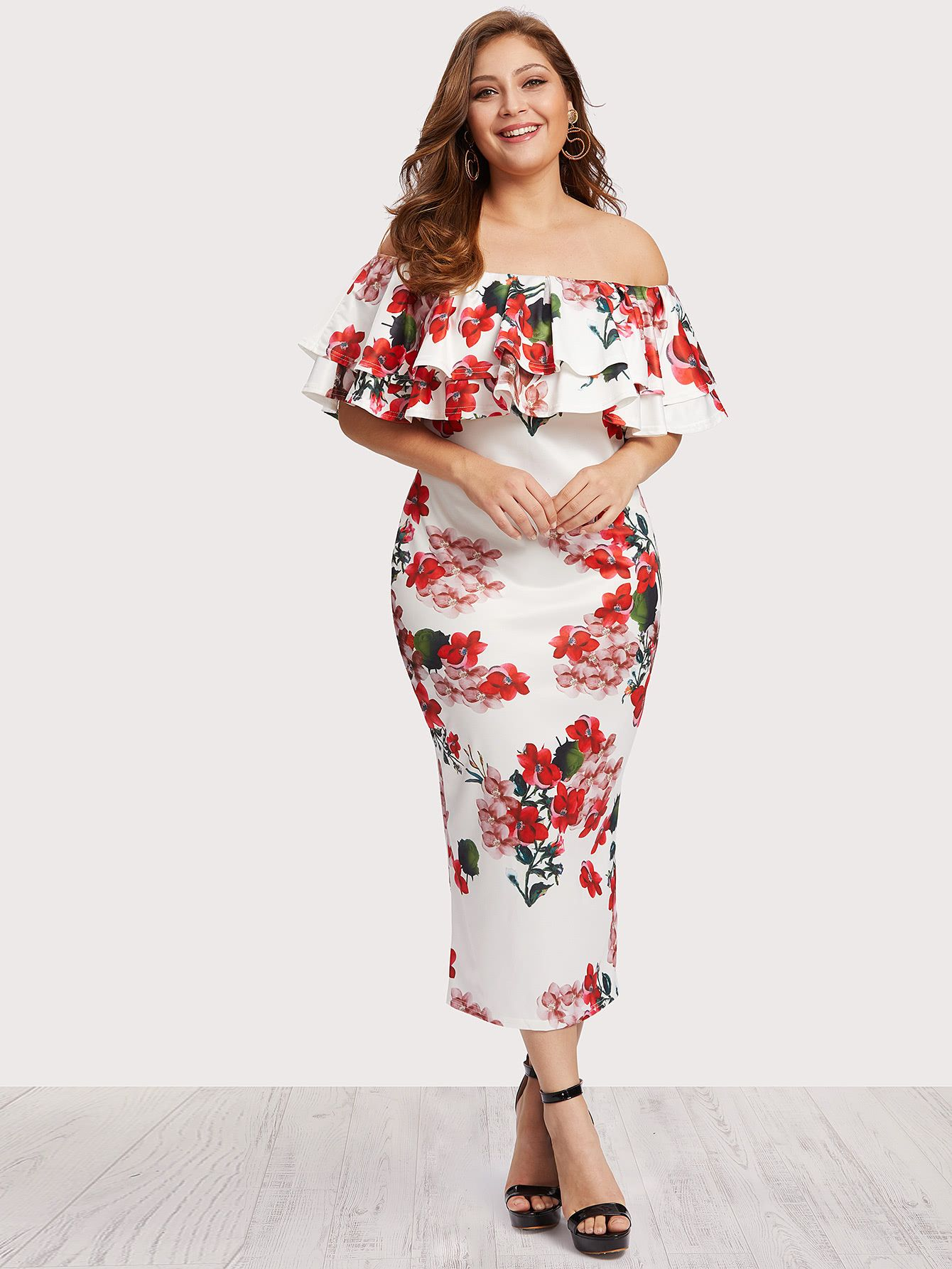 84a0182d7f88e Off Shoulder Floral Print Tiered Dress -SheIn(Sheinside) | Curvy ...
