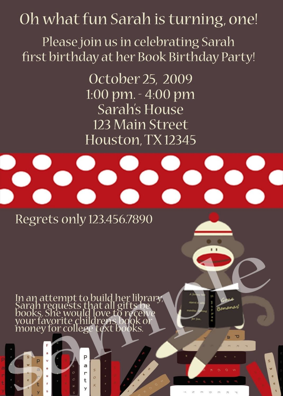 invitation wording Book Birthday Party Parties – Book Party Invitation