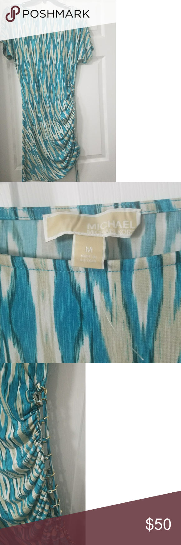 NWOT Michael Kors Teal/Cream Ruched Dress Never worn. Really great for the summer time!  The side of the dress is adjustable so you can pull it tight to shorten it and create more of a waist cinch or you can loosen it to have less of a cinch and a longer dress. Michael Kors Dresses Midi