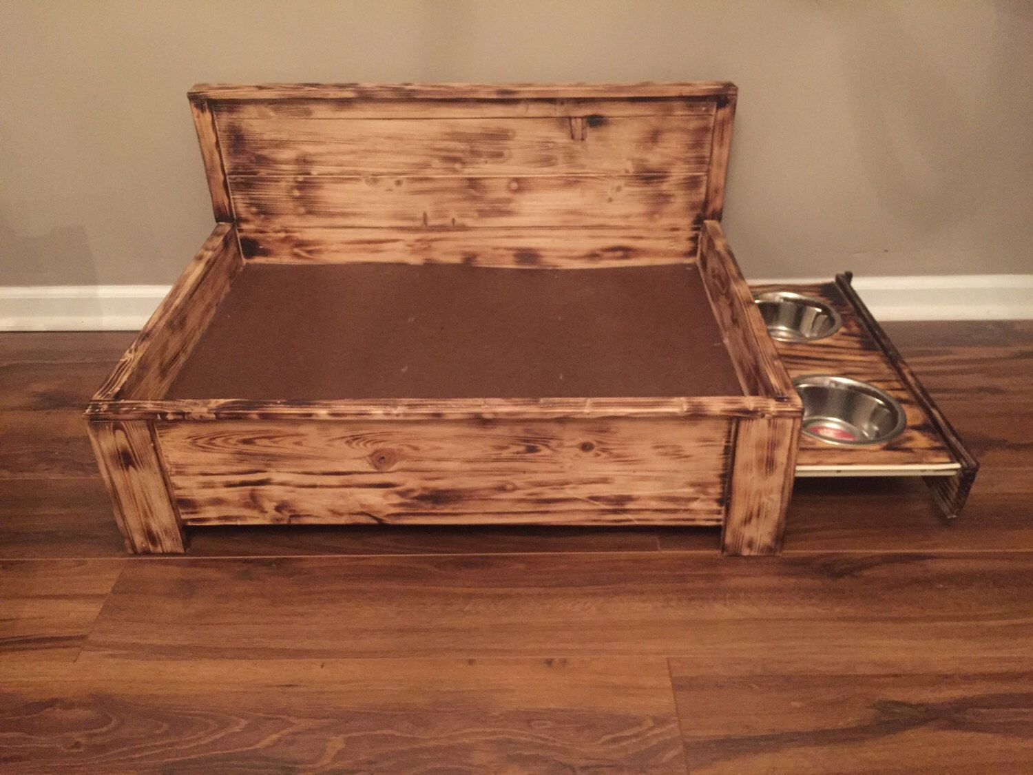 Rustic Wood Dog Bed With Pull Out Feeding Station Raised Built