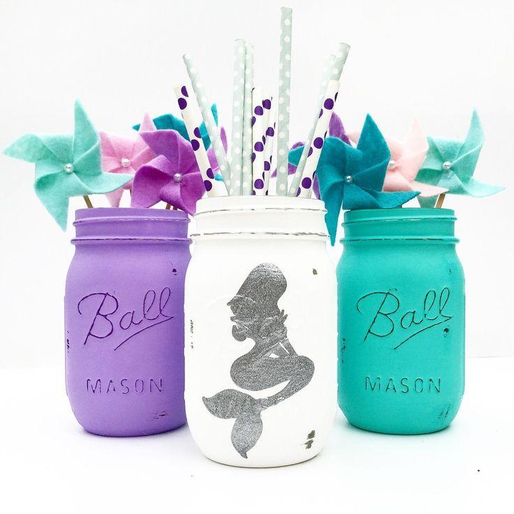 Mermaid Mason Jar Trio, Mermaid, Nursery, Mermaid Birthday, Mermaid  Centerpieces, Mermaid