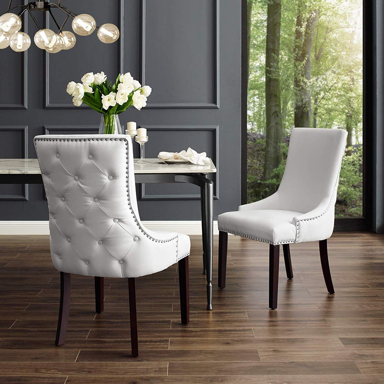 Inspiredhome White Leather Dining Chair Design Oscar Set Of 2