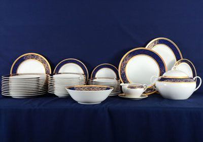 Estate Czech Bohemian classic dinnerware set by Old Prague. The 43 piece set features a cobalt rim accented with gilt trim and foliate design. & Estate Czech Bohemian classic dinnerware set by Old Prague. The 43 ...