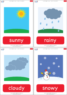 """Weather flashcards for the Super Simple Learning song """"How's The Weather?"""" #preK #Kindergarten #ESL"""