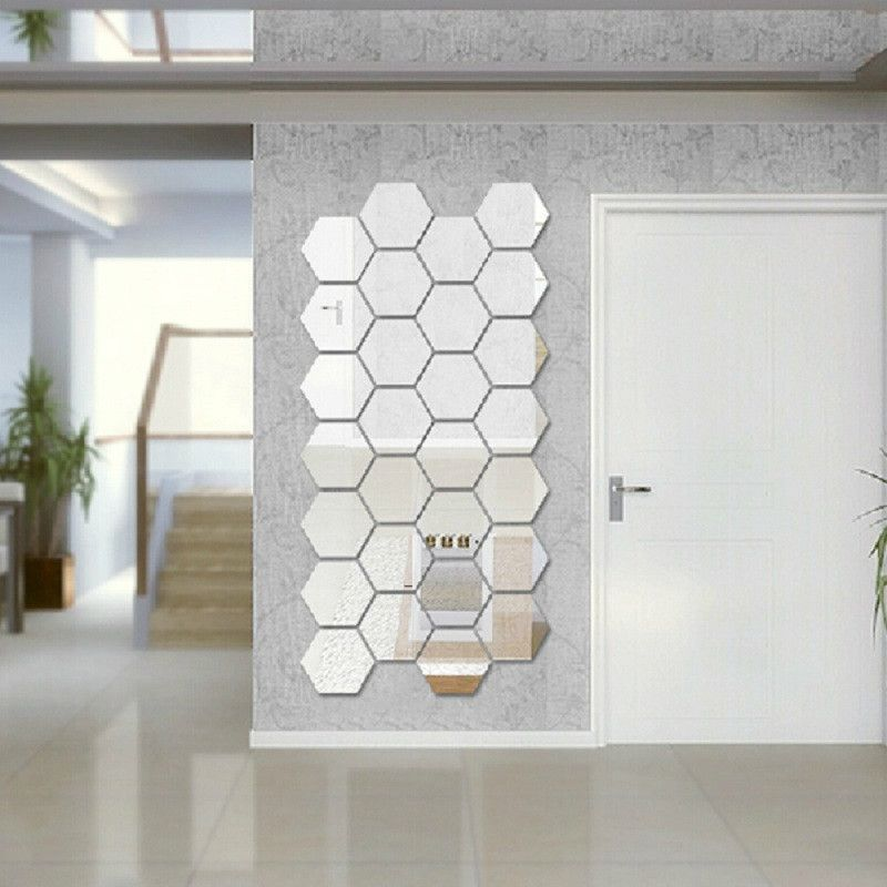 Room Modern Creative 3D Silver Mirror Geometric Hexagon Acrylic Wall Bedroom Living