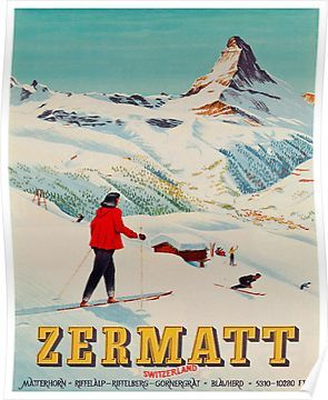 Vintage P.L.M CHAMONIX MONT BLANC FRANCE Skiing//Travel Poster A1A2A3A4Sizes