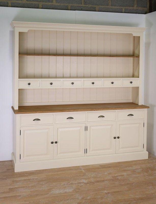 Mottisfont Solid Pine Painted Large Welsh Dresser 4 Drawer 4 Door Dresser Base With 2 Shelves
