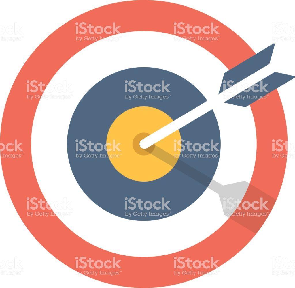 Target and arrow icon. Bullseye symbol. Modern flat design