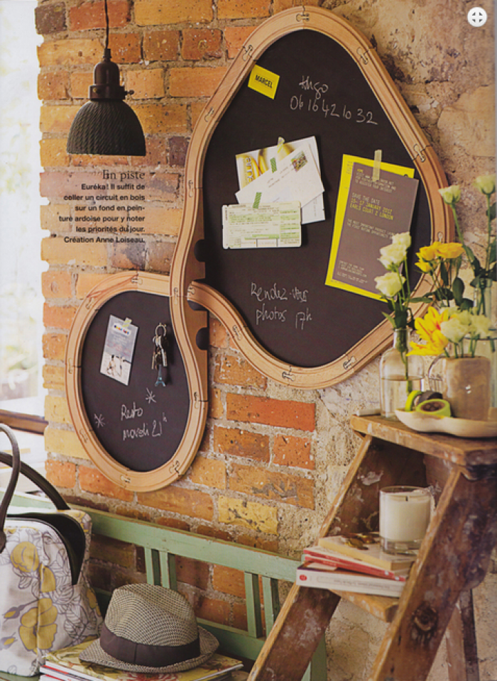 Absolutely Gorgeous! Old Train Track Made Into A Chalkboard Hung On A Brick  Wall.