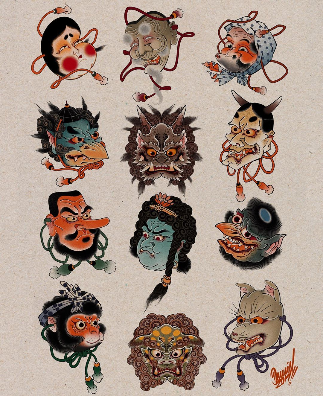 Ddpidildtds On Instagram Some Of My Favorite Mask All Available As A Tattoo Ja Japan Tattoo Design Traditional Japanese Tattoo Flash Japanese Mask Tattoo