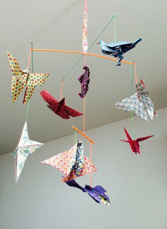 mobile en origami theme aerien oiseaux papillons | chambre bébé ...