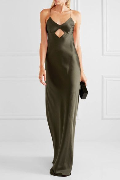 Asymmetric Draped Devoré-chiffon Dress - Dark green Michelle Mason TzWk3