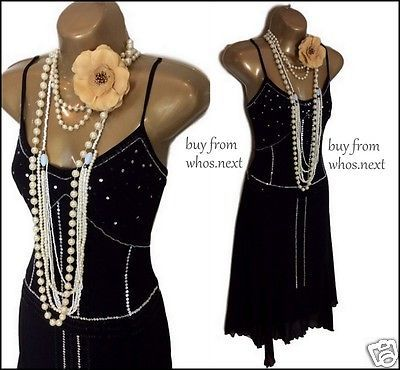 Size 10 black silver 20's embellished #flapper #gatsby #dress deco 1920's xmas ,  View more on the LINK: http://www.zeppy.io/product/gb/2/311491894555/