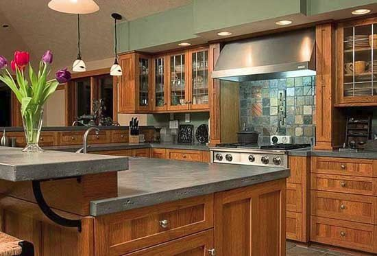 Concrete Countertops With Hickory Cabinets Google Search