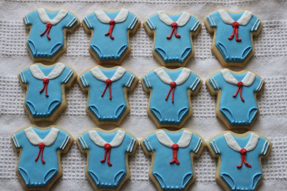 Perfect for the little sailor shower! Nautical sailor onesie cookies for baby by SweetLoraineCookies