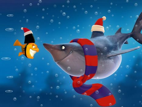 Funny Shark Cartoon Wallpaper Murals for Kids Bedroom Decorating Ideas