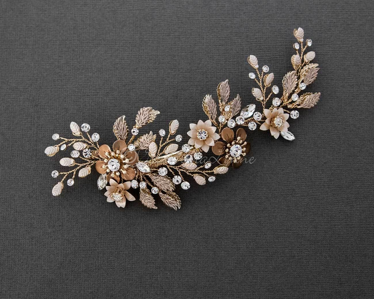 Gold Flower Wedding Hair Clip Gold Bridal Hair Accessories Gold Hair Accessories Wedding Hair Clips