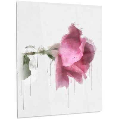 "DesignArt 'Beautiful Rose Watercolor' Painting Print on Metal Size: 48"" H x 40"" W x 1"" D"