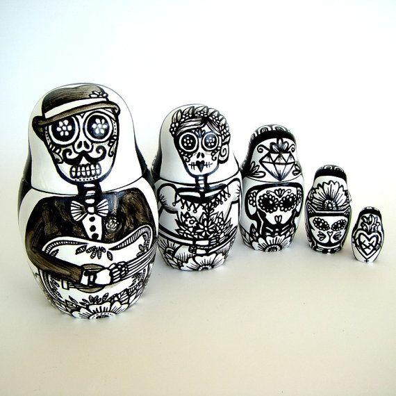 Day of the Dead Nesting Dolls Hand Painted Black and White Folk Art Ceramic Calaveras Dia De Los Muertos Skully Dog Cat Guitar Made to Order