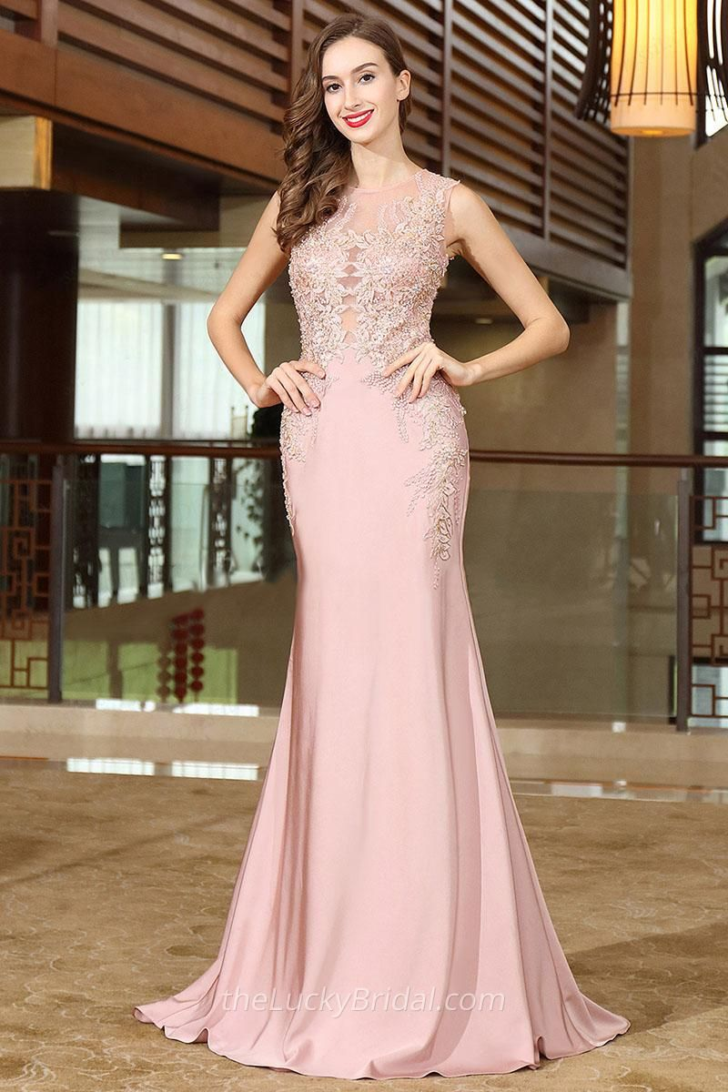 Rose pink illusion laceappliqued sleeveless sheer long mother of