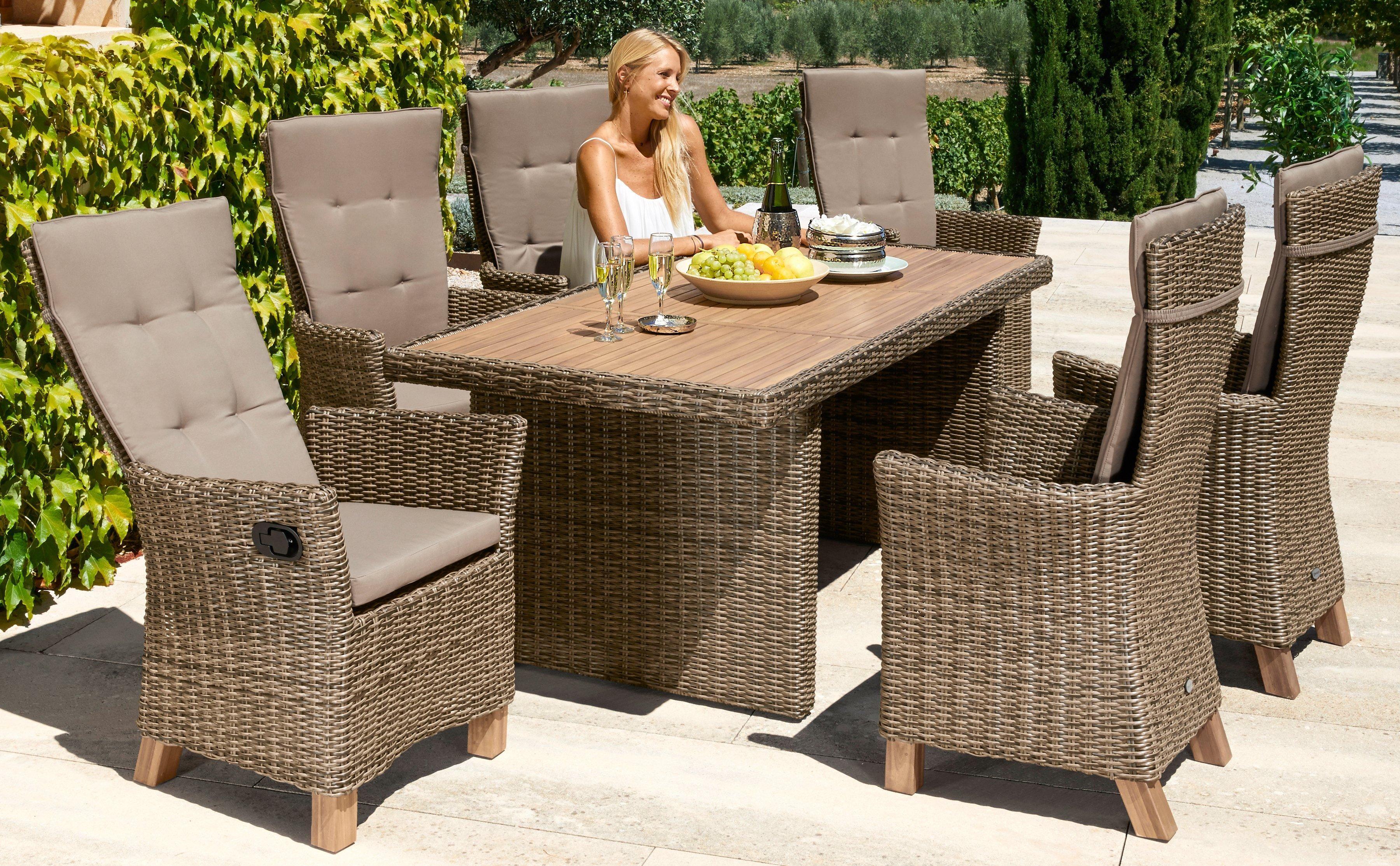 Merxx Gartenmobelset Toskana Deluxe 13 Tlg 6 Sessel Tisch 185x90 Cm Polyrattan Akazie Gartenmobel Polyrattan Gartenmobel Mobel
